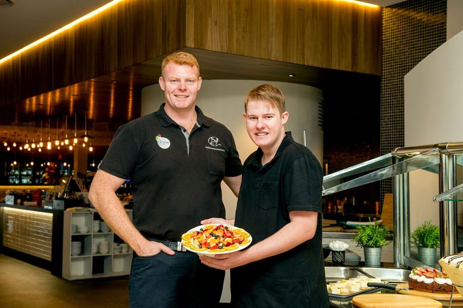 Employer and new OCTEC client employee working in Bistro at Wagga RSL