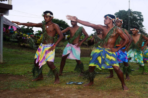 Boys from Goldie College doing a traditional Solomon Islands dance