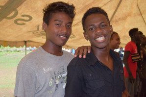 2 boys that attend Goldie College in the Solomon Islands