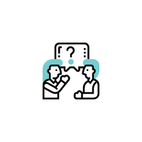 Black, white and light blue icon of a male and female in a conversation